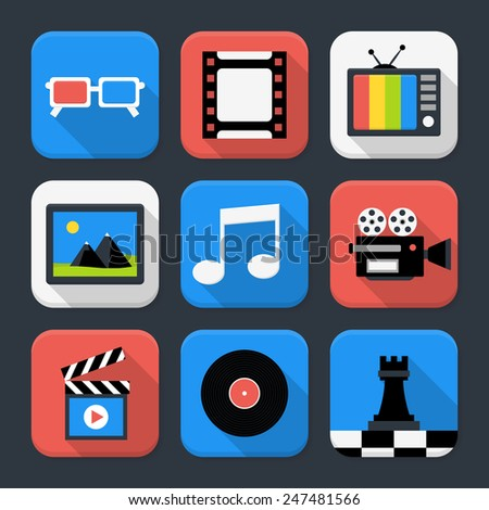 Flat style vector illustrations with long shadows. Multimedia, video and audio themed squared app icon set - stock vector