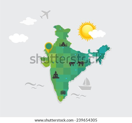 Flat style vector map india attributes vectores en stock 239654305 vector map of india and its attributes gumiabroncs Choice Image