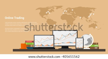 flat style web banner on stock trading concept, online trading, stock market analysis, business and investment, forex exchange