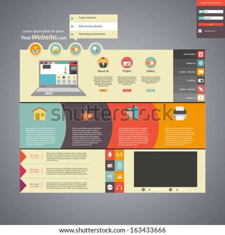 Flat style website template  - stock vector