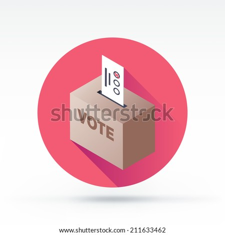 Flat style with long shadows, ballot box vector icon illustration. - stock vector