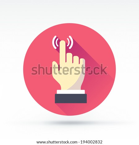 Flat style with long shadows, hand touch vector icon illustration. - stock vector