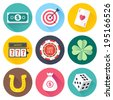 Flat style with long shadows, luck symbols themed vector icon illustrations set. - stock vector