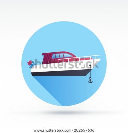 Flat style with long shadows, motor boat vector icon illustration. - stock vector