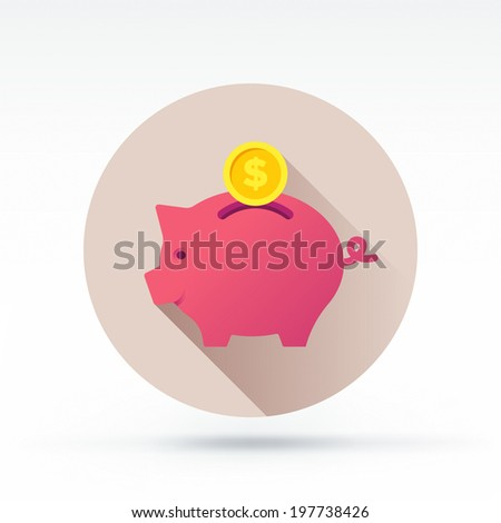 Flat style with long shadows, pig bank vector icon illustration. - stock vector