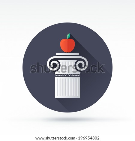 Flat style with long shadows, pillar and apple vector icon illustration. - stock vector