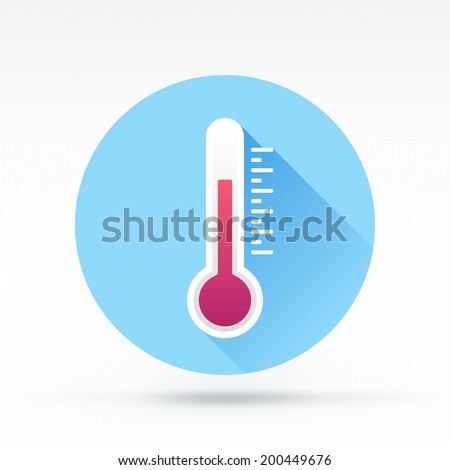 Flat style with long shadows, thermometer vector icon illustration. - stock vector