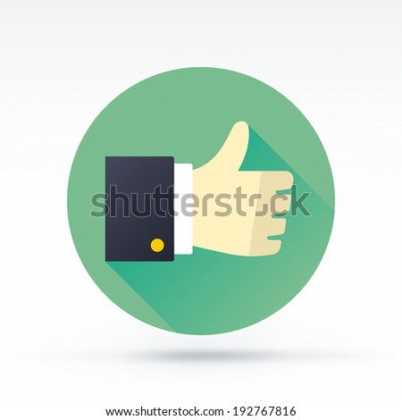Flat style with long shadows, thumbs up vector icon illustration. - stock vector