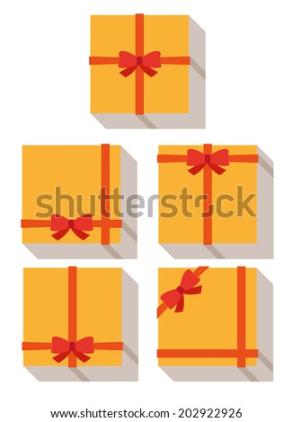 flat style, wrapped gift or gift card with red ribbon on white background - stock vector