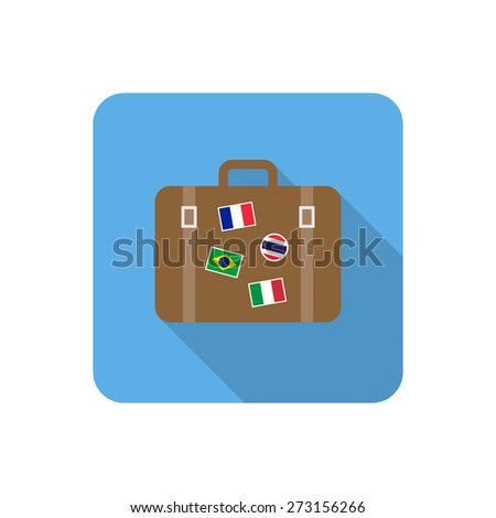 Flat suitcase icon with long shadow. Vector illustration - stock vector