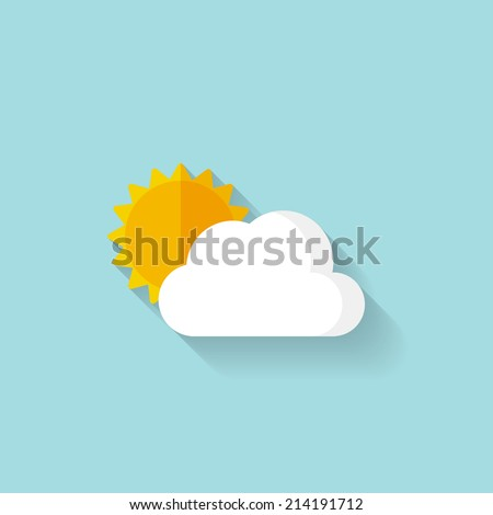 Flat sun and cloud weather web icon - stock vector