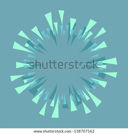 Flat Sun Rays or Happy Explosion Boom for Comic Books. Radial Background Vector frame with space for text
