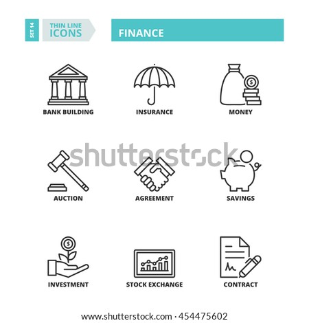 Flat symbols about finance. Thin line icons set. - stock vector