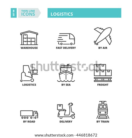 Flat symbols about logistics. Thin line icons set. - stock vector
