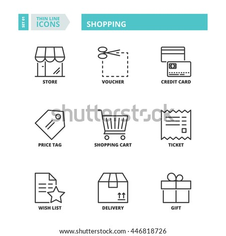 Flat symbols about shopping. Thin line icons set. - stock vector