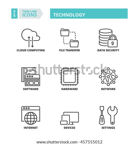 Flat symbols about technology. Thin line icons set. - stock vector