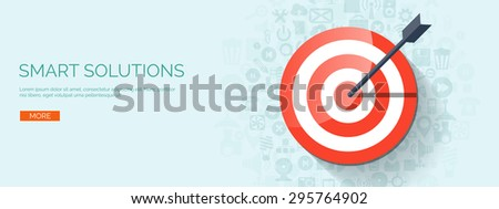 Flat target. Business aims. Smart solutions. - stock vector