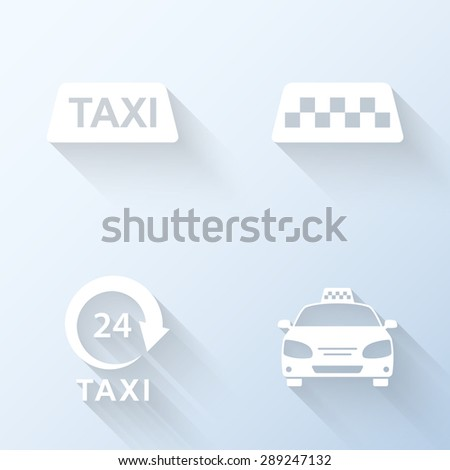 Flat taxi icons with long shadows. Vector illustration - stock vector