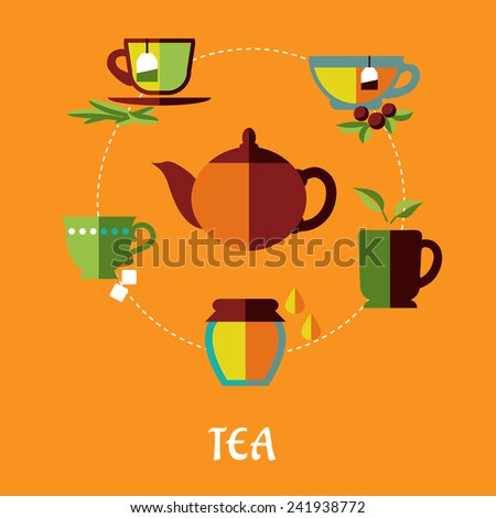 Flat tea concept in warm colors with teapot surrounded different shapes cups of tea with tea bags, jar of honey, sugar cubes and green leaves isolated on orange background