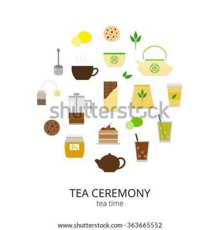 Flat tea items and accessories composed in circle shape. Tea cup, pot, cake, tea strainer, honey, lemon, lime, cookies, chinese teapot, tea bag, ice tea. Tea ceremony symbols in circle. - stock vector