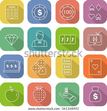 Flat thin line icons for casino Vector Illustration