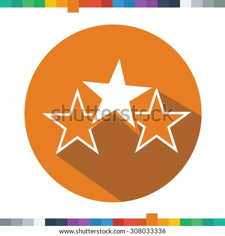 Flat three stars icon in a cercle with a long shadow. - stock vector