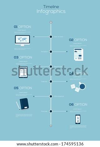 Flat Timeline Infographic. Vector design template. - stock vector