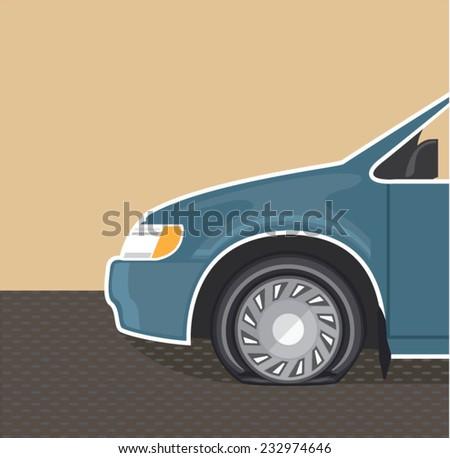 Flat tire Color Vector - stock vector