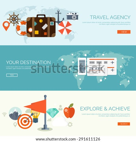 Flat travel background. Summer holidays. Vacation. Sea. Tickets booking. - stock vector