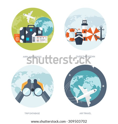 Flat travel background. Vector illustration. Summer holidays. Tourism. Holiday trip. - stock vector