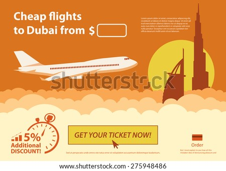 Flat travel banner - Dubai - vector illustration - stock vector