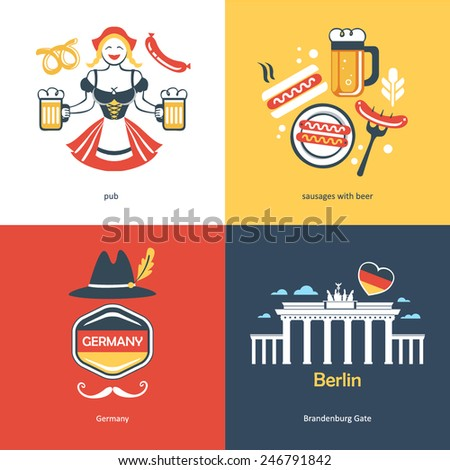 Flat travel Germany - stock vector