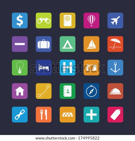 Flat travel icon set. Vector illustration