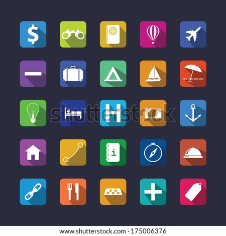 Flat travel icon set with shadow. Vector illustration