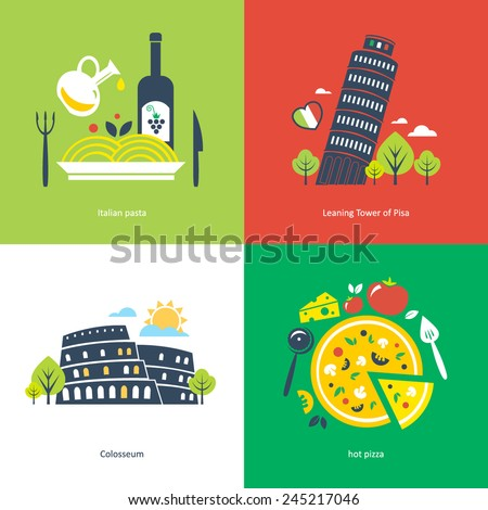 flat travel Italy - stock vector