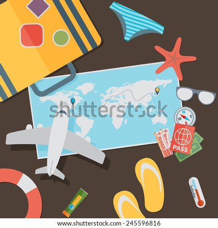 flat travel with airplane illustration design concept background. eps10 vector - stock vector