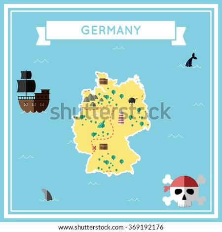 Flat treasure map of Germany. Colorful cartoon treasure map with flat icons of pirate ship, jolly roger, treasure chest and banner ribbon. Flat design vector illustration.