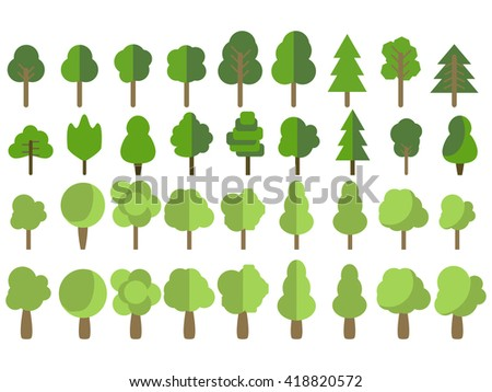 Flat trees in a flat design. Isolated on white. Vector icons. - stock vector