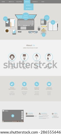 Flat Trendy One Page Website Template - stock vector