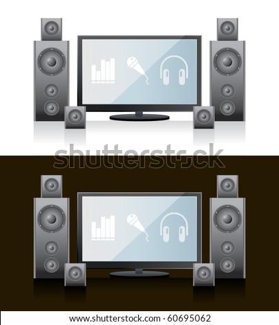 Flat TV Home Cinema - stock vector
