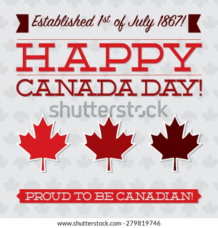 Flat typography Canada Day card in vector format. - stock vector