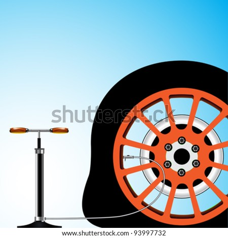 flat tyre, abstract vector art illustration; image contains transparency - stock vector