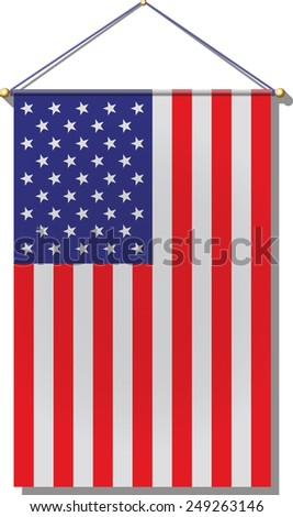 Flat U.S. flag with some shadowing. - stock vector