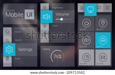 Flat UI design cincept. Vector Illustration, eps10, contains transparencies. - stock vector