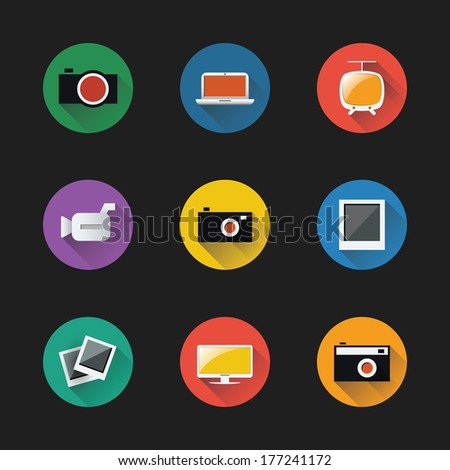 Flat UI Design - Colorful Electronic Device Icon Set - stock vector