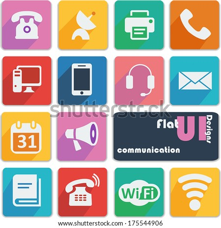 Flat ui design icons - Communication - stock vector