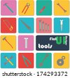 Flat ui design icons. Tools. - stock vector