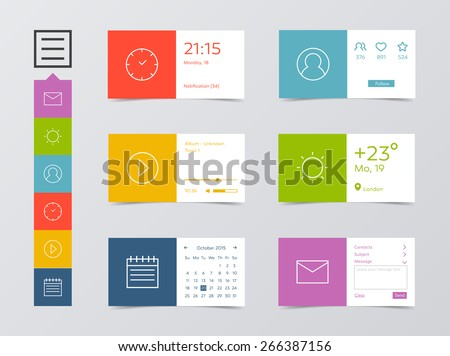 Flat UI Design Kit. Clock, user profile, media player, weather, calendar, and mail widget. Minimal design style.  - stock vector