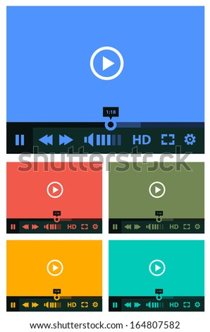 Flat ui design media player application template collection for tablet pc or smartphone - stock vector