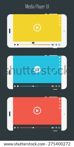 Flat ui design media player mobile application template collection - stock vector